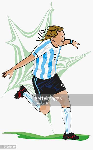 0efb78030b5 Soccer player running on a field with his arms outstretched