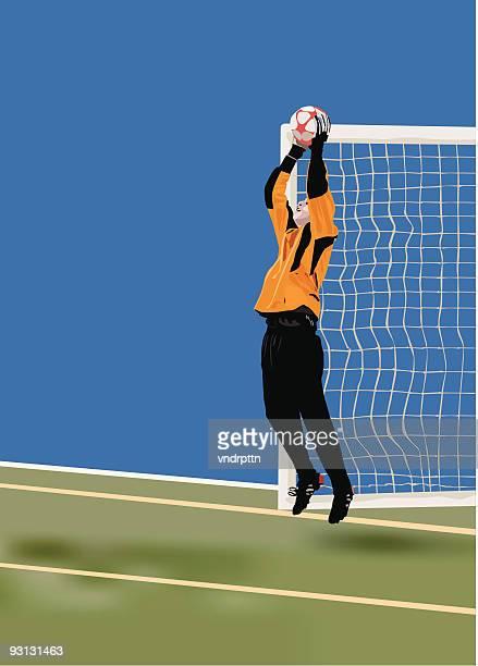 ilustraciones, imágenes clip art, dibujos animados e iconos de stock de de fútbol guardar - guantes de portero