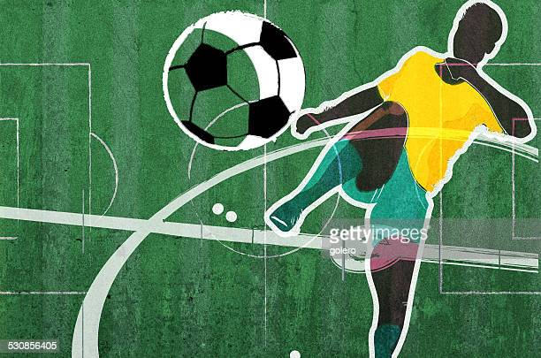 soccer scene collage on green concrete - football field stock illustrations, clip art, cartoons, & icons