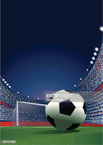 ilustraciones, imágenes clip art, dibujos animados e iconos de stock de estadio soccerball en - gradas