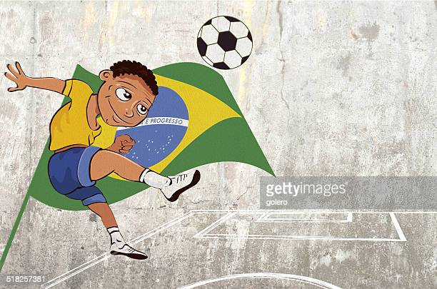 soccerboy graffiti - concrete wall stock illustrations, clip art, cartoons, & icons