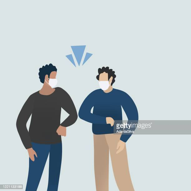 social distancing people, elbow bumping project from coronavirus - businesswear stock illustrations