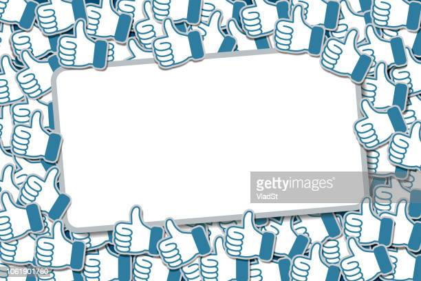 social media networking banner background likes thumbs up - following stock illustrations