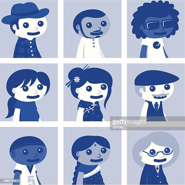 social network avatars - set two - flat cap stock illustrations