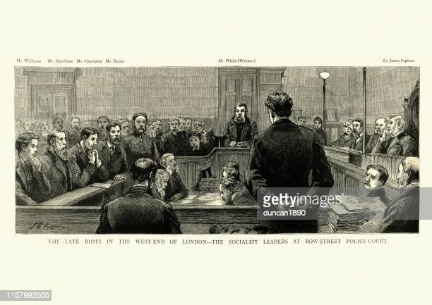 Socialist leaders on trail for the  West End Riots, London, 1886