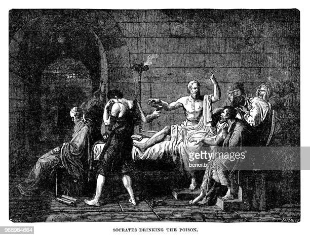 socrates drinking the poison - philosophy stock illustrations