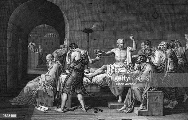 Socrates the Greek philosopher is forced to commit suicide in prison by drinking hemlock, surrounded by his grieving friends and followers, 399 BC.