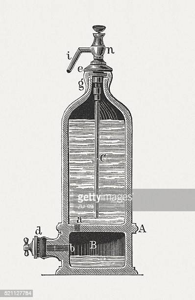 Soda syphon, wood engraving, published in 1880