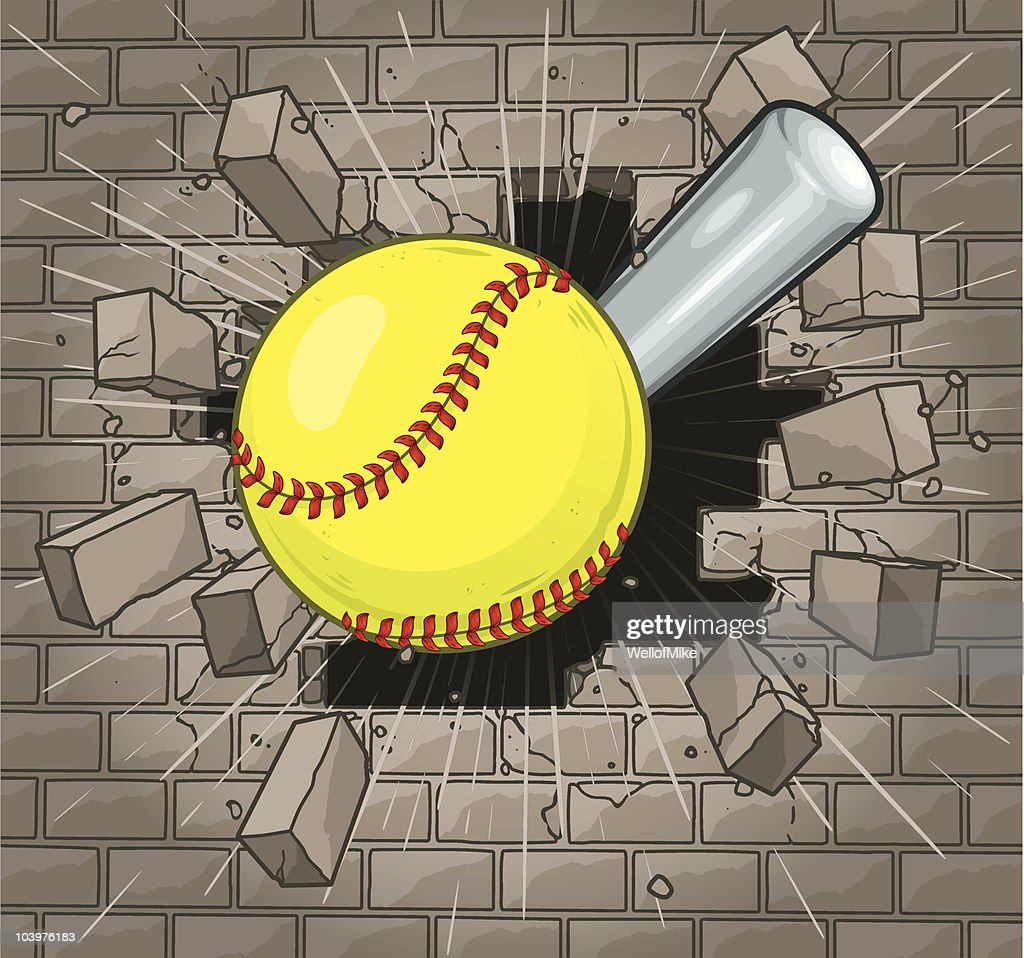 Softball Brick Wall Stock Illustration - Getty Images