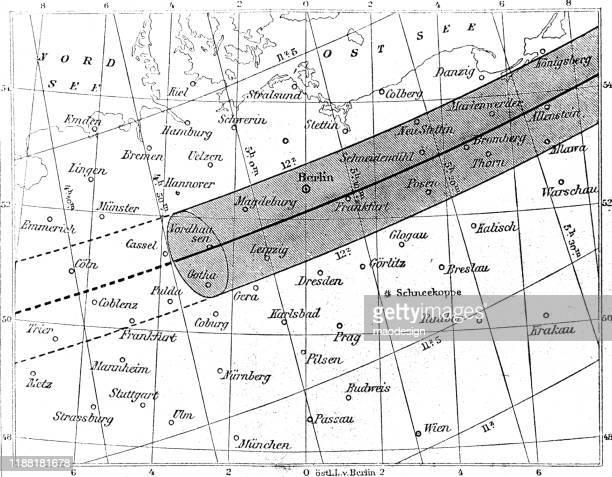 ilustraciones, imágenes clip art, dibujos animados e iconos de stock de zona de eclipse solar sobre alemania - eclipsesolar