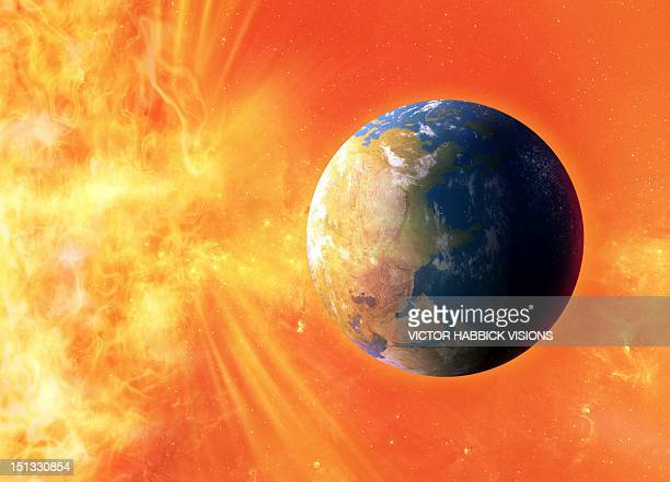 solar flare hitting earth, artwork - victor habbick stock illustrations