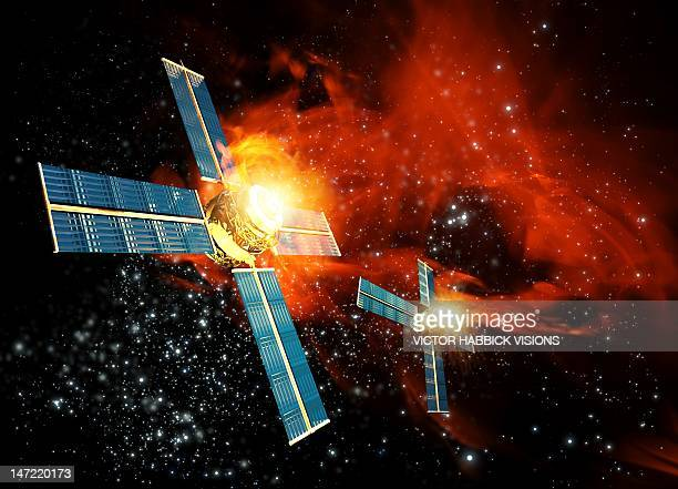 solar flare hitting satellite, artwork - solar flare stock illustrations, clip art, cartoons, & icons