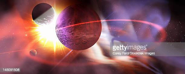Solar flares radiate from a huge sun near a planet and its orbiting moons.