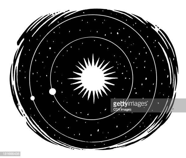 solar system - orbiting stock-grafiken, -clipart, -cartoons und -symbole