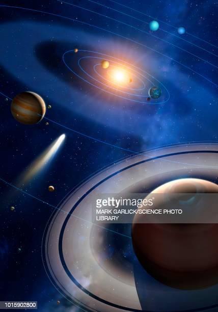ilustraciones, imágenes clip art, dibujos animados e iconos de stock de solar system illustration - cometa espacio