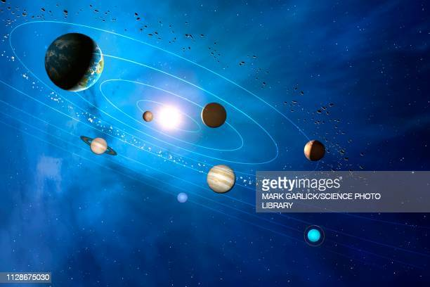 solar system, illustration - space and astronomy stock illustrations
