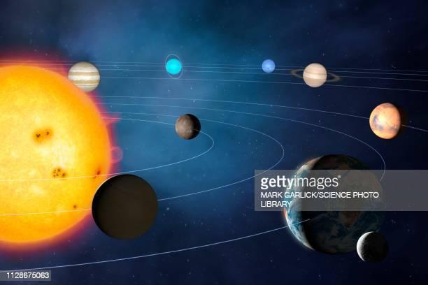 solar system, illustration - solar system stock illustrations