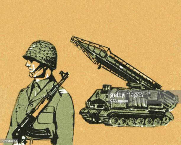 soldier and tank - army soldier stock illustrations