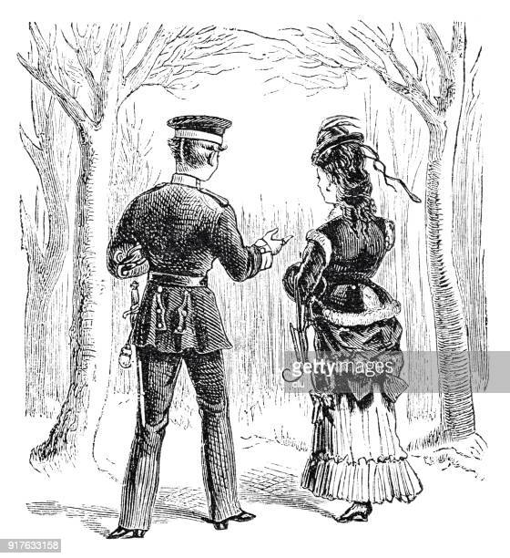 soldier and young woman rear view, walking in the park - 1877 stock illustrations, clip art, cartoons, & icons