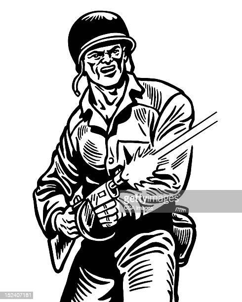 soldier firing gun - marines military stock illustrations, clip art, cartoons, & icons