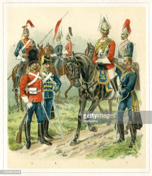 soldier great britain army cavalry 19th century - army helmet stock illustrations