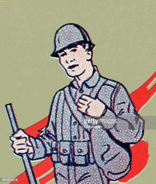 soldier - military uniform stock illustrations