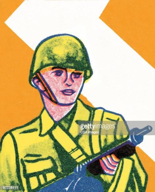 soldier - army helmet stock illustrations