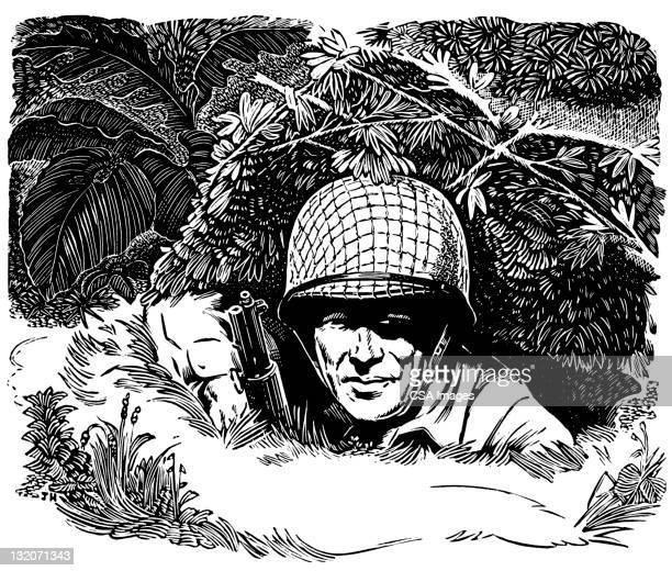 soldier in foxhole - army helmet stock illustrations, clip art, cartoons, & icons