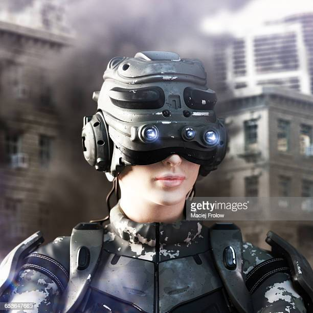 soldier in futuristic helmet and body armor - army soldier stock illustrations