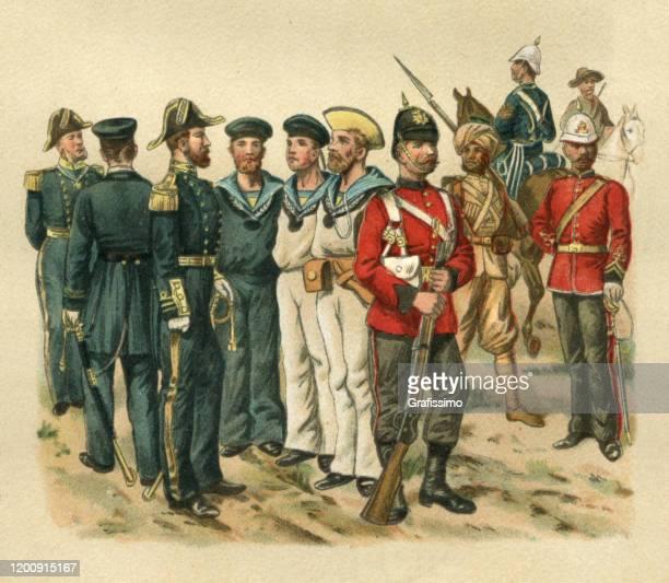 soldier in uniform great britain 19th century - army helmet stock illustrations