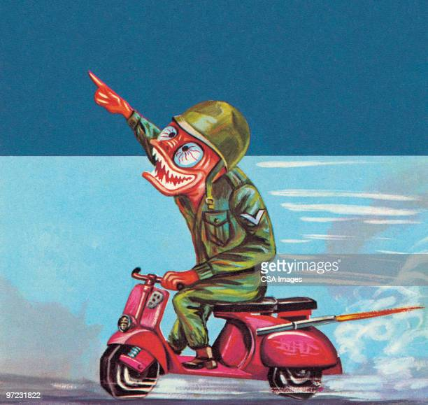 soldier on a scooter - military uniform stock illustrations
