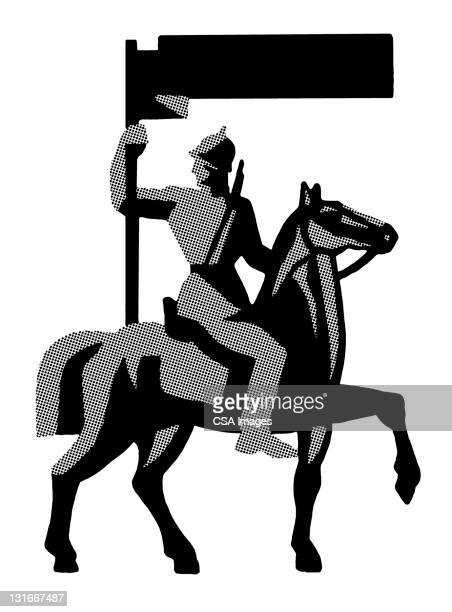 soldier on horse - army soldier stock illustrations
