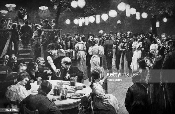 soldier party with families in the large ballroom - 1896 - ballroom stock illustrations