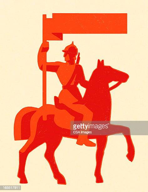 ilustrações, clipart, desenhos animados e ícones de soldado em um cavalo - knight person