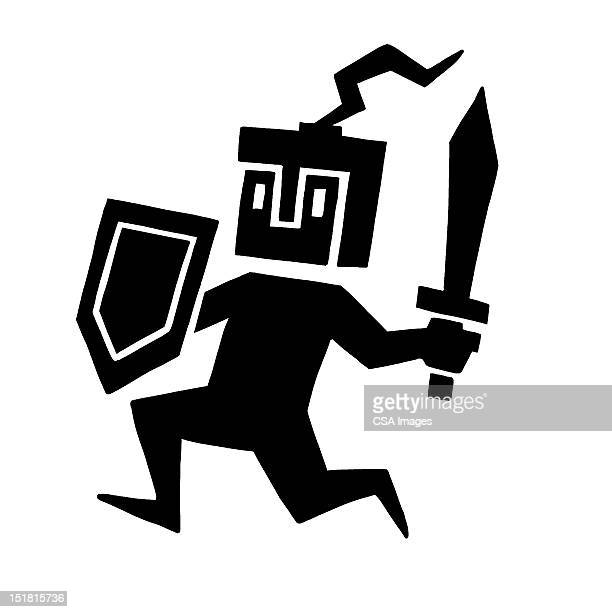 soldier running with shield and sword - army soldier stock illustrations