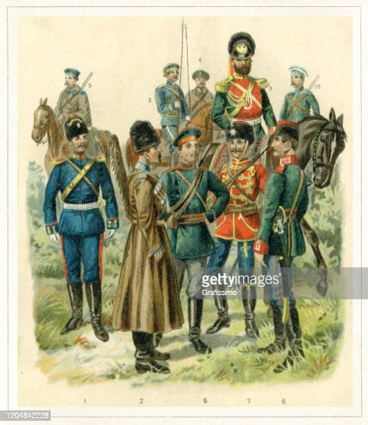ilustrações, clipart, desenhos animados e ícones de soldado exército rússia cavalaria do século 19 - infantaria