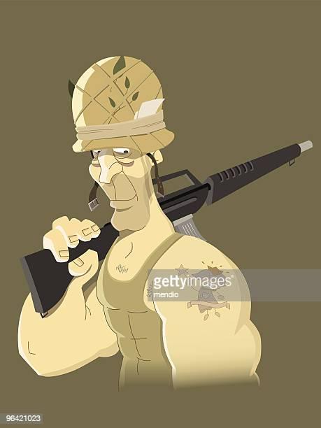 soldier tatoo - us marine corps stock illustrations, clip art, cartoons, & icons