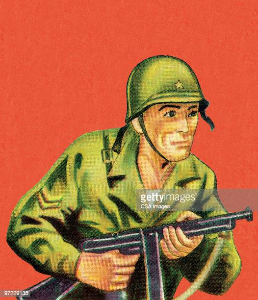 ilustraciones, imágenes clip art, dibujos animados e iconos de stock de soldier with aimed rifle - casco militar