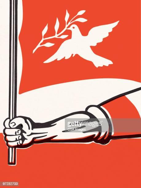 illustrations, cliparts, dessins animés et icônes de soldier with peace symbols - colombe