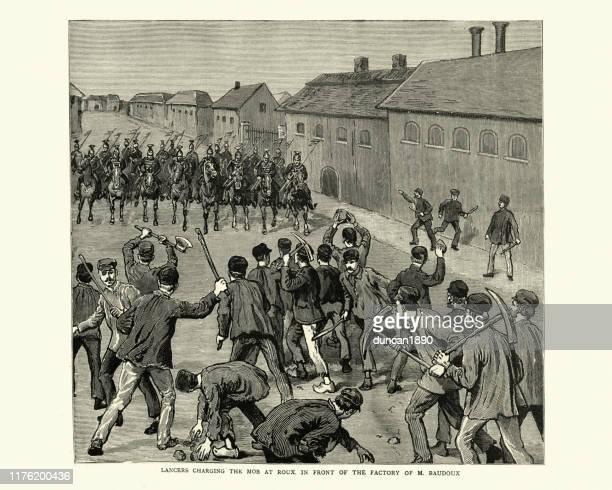 soldiers charging mob of striking miners, belgium, 1886, 19th century - striker stock illustrations