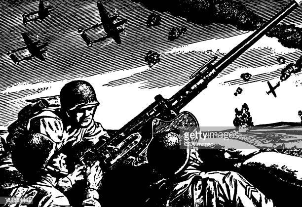 soldiers in foxhole - battlefield stock illustrations, clip art, cartoons, & icons