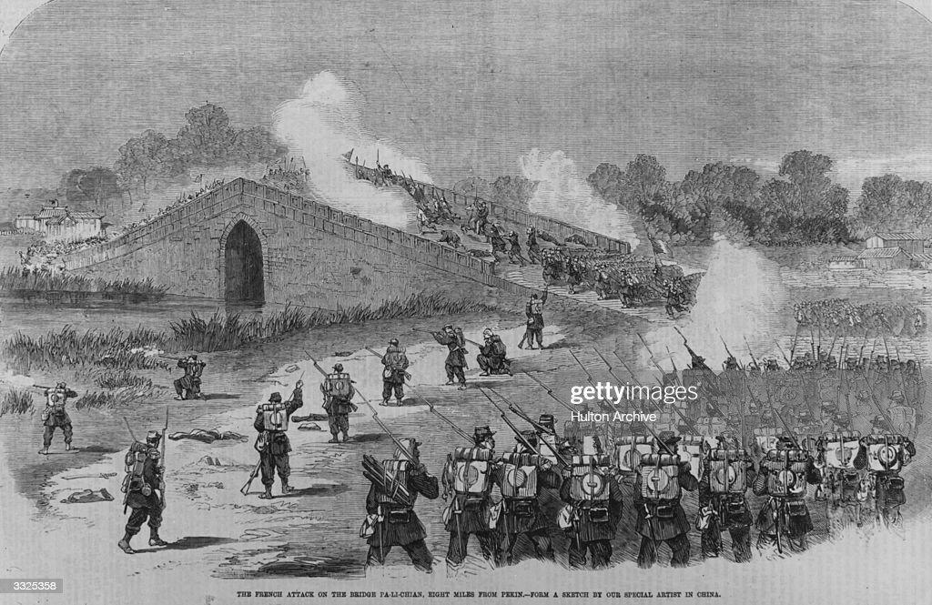 Soldiers of the French Foreign Legion attack on the bridge Pa-Li-Chian eight miles from Peking during the Second Opium War.