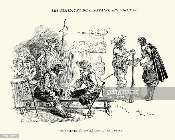 soldiers relaxing in their barracks, 17th century - musketeer stock illustrations, clip art, cartoons, & icons