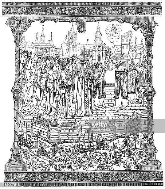solemn procession - dijon stock illustrations, clip art, cartoons, & icons