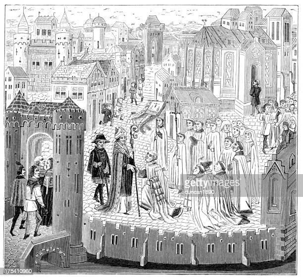 ilustrações, clipart, desenhos animados e ícones de solene recepção de bishop - bishop clergy
