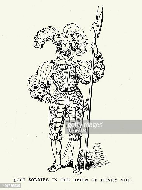solider of henry viii - halberd stock illustrations