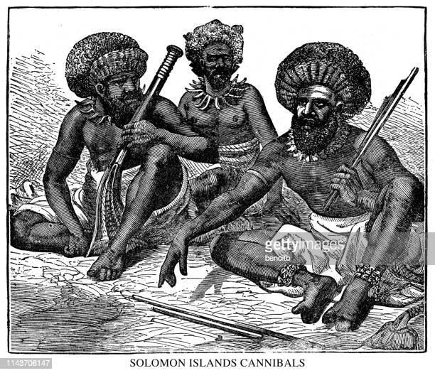 ilustrações de stock, clip art, desenhos animados e ícones de solomon islands cannibals - canibalismo