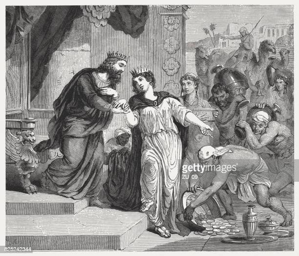 solomon receives the queen of sheba (1 kings 10) - circa 10th century stock illustrations