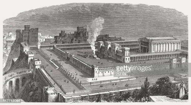 solomon's temple in jerusalem, visual reconstruction, wood engraving, published 1886 - ancient stock illustrations