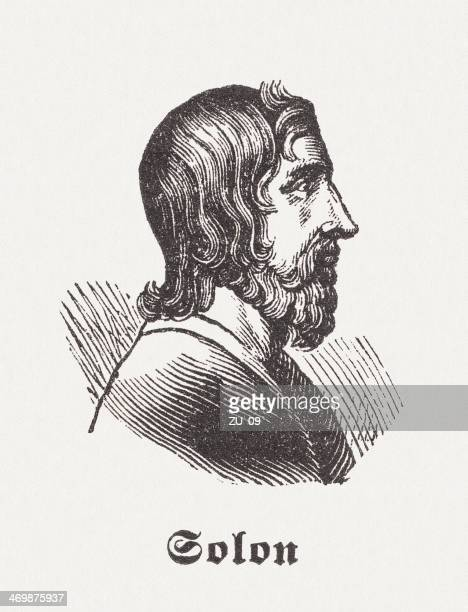 solon, athenian statesman and poet, wood engraving, published 1881 - athens georgia stock illustrations, clip art, cartoons, & icons